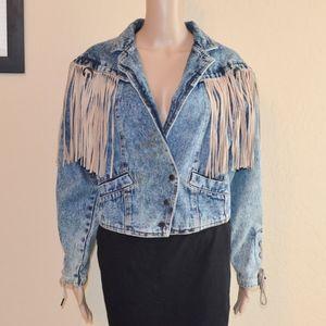 Vintage Denim & Suede Fringe Boho Cropped Jacket